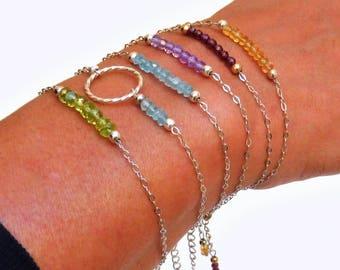 Bracelet Aigue-marine - Argent 925, chaine fine, pierres fines naturelles, semi précieuses, bijou artisanal