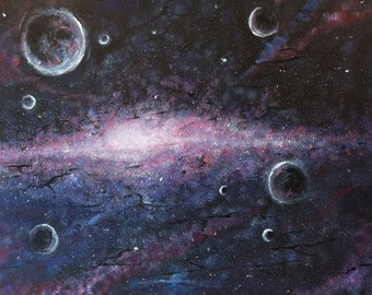 """Space - wall art- large painting - galaxy - planets - """"Distant worlds"""" by U.S. artist Greg Gilreath"""