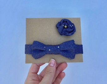 Blue with Gold Dot Boys Bow Tie/Men's Lapel Knot/Daddy and Me/Matching Set/Father's Day