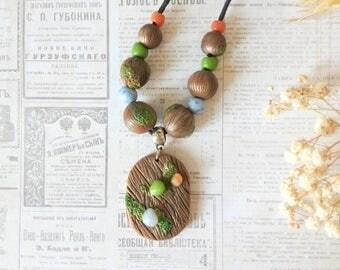 Fairytale gift necklace Woodland necklace Wood jewelry Wood beads Woodland pendant Wooden pendant bead necklace