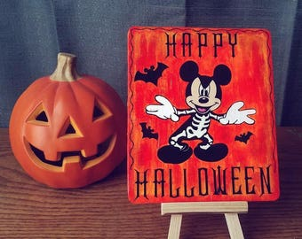 Halloween Skeleton Mickey Mouse hand painted sign / display