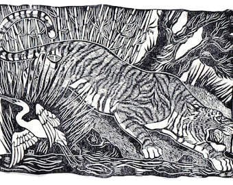 Linocut of a Tiger in the Jungle