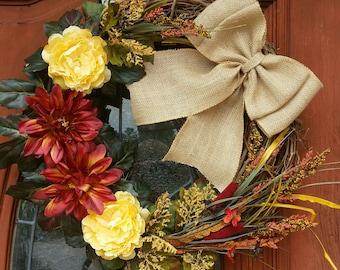 Fall Door Wreath Door Wreath Handmade Wreath