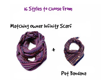 Infinity scarf, Owner and dog scarf, Mom and Me scarf, dog bandana, Mom and me set, owner and pet scarf, Matching owner scarf,  dog.