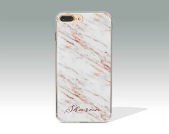 Phone 7 Plus Case Personalized iPhone X Case iPhone 8 Case Rose Marble iPhone 7 Case iPhone 8 Plus Case Custom Name Customized Gift P13