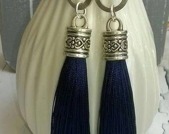 Tassel Earrings Bohostyle Blue Silver