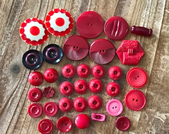 35 Vintage Red Buttons, Lot of Red Buttons, Red Craft Buttons, Red Sewing Buttons, Dress Buttons
