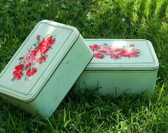 Pair of vintage French biscuit tins - floral metal cookie tins - vintage storage box