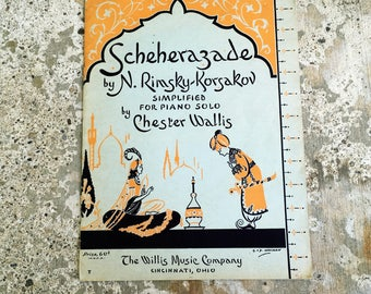 Scheherazade, Vintage Sheet Music, By N. Rimsky-korsakov, Simplified for Piano, 1946