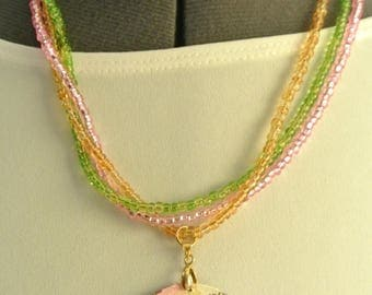 Cute Triple Seed Bead Necklace with Colorful Pendant