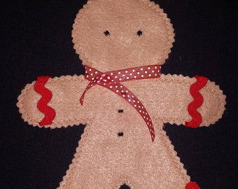 Gingerbread man ornament with zig-zag