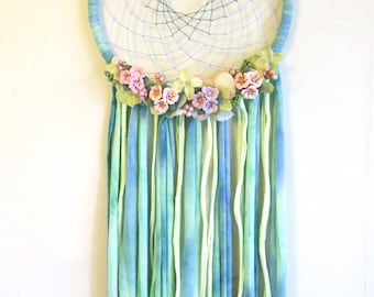 Dream catcher, floral dreamcatcher, wedding, Wall hanging, Bedroom decor, Mobile, Bohemian, Boho, House decor, flower mobile,floral mobile