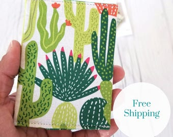Cactus Wallet, Green Wallet, Slim Wallet, Small Women Wallet, Business Card Wallet, Credit Card Wallet, Credit Card Case, Gift Idea