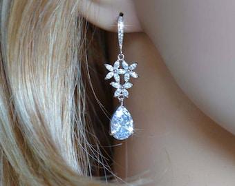 Handmade Vintage Inspired Fancy Shapes Cubic Zirconia CZ Starfish Dangle Earrings, Wedding, Bridal  (Sparkle-2762)