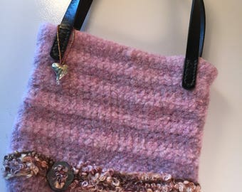 Pink stripped felted handbag with leather handles