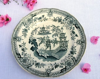 """Antique Swedish Rörstrand Singapore Plate / 1880,s / Rorstrand China Plate / Tea Plate / 7 """" / Singapore Pattern / Sweden / Collectible"""