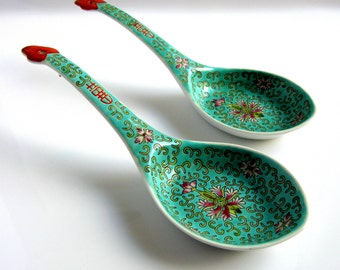 "Chinese Large Spoon Rests / Famille Rose Porcelain / Large Rice Noodle Spoon / Laddle / 9"" / Set Of Two / Hand Painted Enamel / Lotus Flower"