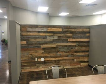 Reclaimed Wood Accent Wall Installation - Pallet Wall Installation - Reclaimed Wood Planks