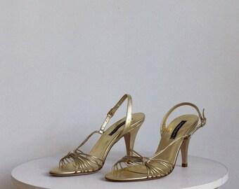 Vintage Gold Metallic Strappy Heels 7.5 N / Claudia Ciuti