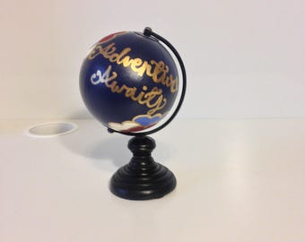 "READY TO SHIP Lovers' Floral Mini Globe, hand painted globe (12"")"