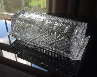 Vintage Crystal Covered Butter Dish