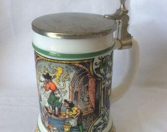 Vintage BMF Bierseidal Milk Glass Stein with Pewter Lid