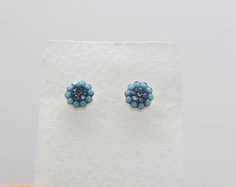 Sterling Silver Stud Earrings, Swarovsky Crystals, 7mm Flower, Turquoise & Montana Color, Unique BlingBling Korean Style