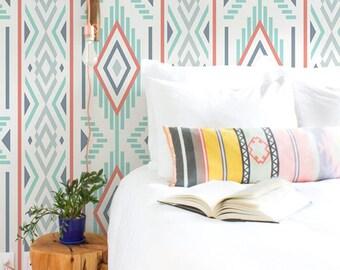 Ikat pattern self adhesive wallpaper, Geometric wall decals, Bohemian wall sticker, BW029