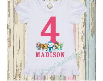 Octonauts Birthday Ruffle Boutique Shirt - Personalize any name, any age