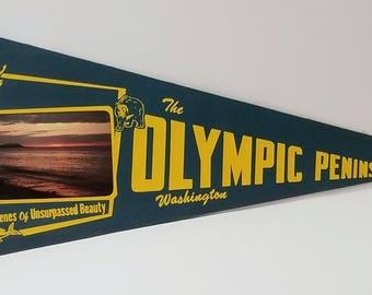 The Olympic Peninsula, Washington - Vintage Pennant