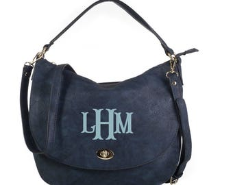 Monogrammed Buckle Hobo Handbag in Navy - The Mandy