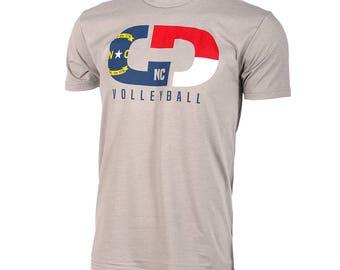 State Flag Logo: North Carolina Volleyball Short Sleeve T-shirt, Volleyball Shirts, Volleyball Gifts, NC Volleyball - Free Shipping!