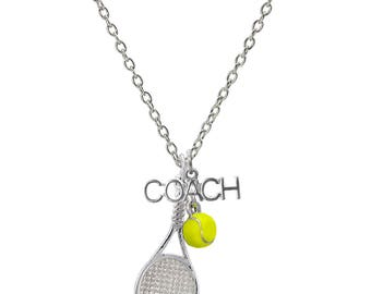 Customizable Tennis Racket Coach Necklace with Mini Tennis Ball - Personalize with Heart Charm or Letter Charm! Great Tennis Gift!