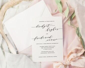 The Bridget Suite | Wedding Invitation Suite, Wedding Invitation, Romantic Wedding Invitation, Calligraphy Wedding Invitation