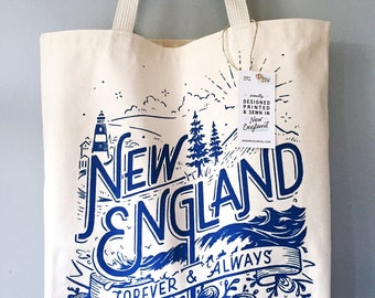New England Forever & Always - cotton canvas tote bag - made in USA