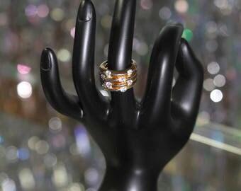 Triple Gold Rhinestone Ring Size: 5 1/2
