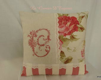 """Embroidered cushion """"Roses antique and Monogram * C *"""""""