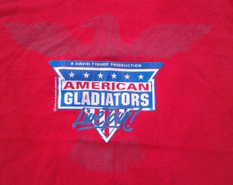 Vintage 1992 American Gladiators Live Tour! t-shirt red large Fruit of the Loom Made in USA