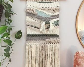 "Woven Wall Hanging, Handmade Tapestry, Mid Century Modern, Boho Decor, Macrame Wall Hanging, ""River Bend"""