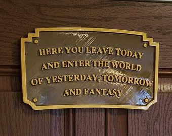"""XL 10"""" Main Street Entranceway Welcome Plaque DL Inspired Sign - Dual Brown / Gold Color (Disney Prop Inspired Replica)"""