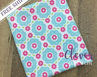 Floral Blue of Summer Song 2 by Zoe Pearn for Riley Blake Designs (Yardage, 100% Cotton Quilting Fabric Yardage)