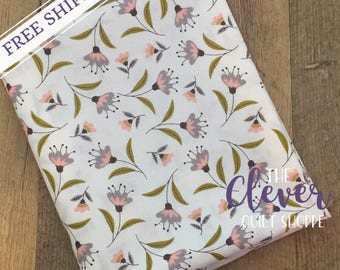 Quilting Fabric, Camelot, Captivate Blossoms in White by Alisse Courter