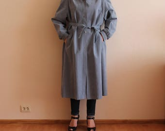 Women's Trench Coat Vintage Trench Coat Blue Coat Blue Womens Trenchcoat Long Trench Outerwear Raincoat Belted Large Size