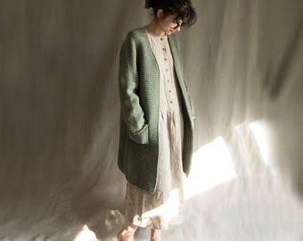 Knitted cardigan woolen cardi wool knit women's sweater knitwear woolen coat warm cardigan dusty green sweater jumper natural wool