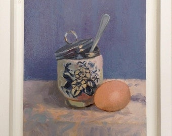 Framed Oil Painting of Egg Coddler with Egg by Barbara Kelly