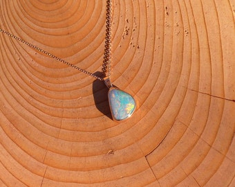 Rose gold opal pendant