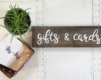 Gifts and Cards Signs // Wedding Table Signs // Wedding Photo Prop // Rustic Wedding Decor // Gifts and Cards Table Signs