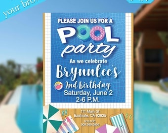 Birthday Invitation Template, Pool Party, Template, Printable Template, Birthday Printable, DIY Birthday, Editable Invitation, Templett