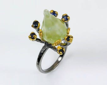 Prehnite ring, Black Ring, Sapphire Ring, Green Ring, carved stone ring, Statement Ring, Twig Branch Ring, Elvish ring, Cocktail ring