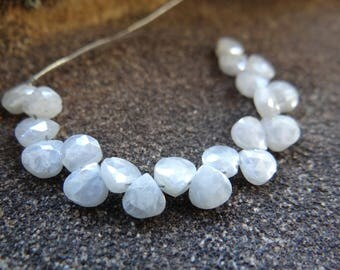 Sparkling White Mystic Coated Silverite | Faceted Heart Briolettes | 5mm | Sets of 10